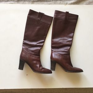 J. Crew Brown Leather Tall Boots Size 7.5